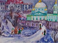 Znamensky Cathedral in winter, Chaplygina Anastasia : Children's Art Festival Our Kursk: CHILDREN DRAW THE CHURCH