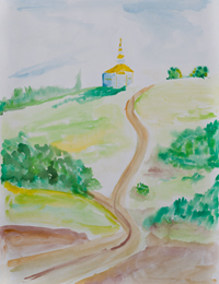 Road to the Temple, Dyakova Anastasia : Children's Art Festival Our Kursk: CHILDREN DRAW THE CHURCH