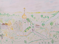The road to the temple, Aseeva Maria : Children's Art Festival Our Kursk: CHILDREN DRAW THE CHURCH