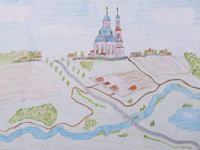 The road to the temple, Ryabko Dmitry : Children's Art Festival Our Kursk: CHILDREN DRAW THE CHURCH