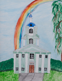 The Rainbow over the temple, Savenko Elena : Children's Art Festival Our Kursk: CHILDREN DRAW THE CHURCH