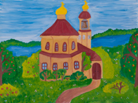 The road to the temple, Sychev Igor : Children's Art Festival Our Kursk: CHILDREN DRAW THE CHURCH