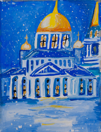Cathedral of the Sign, Titova Maria : Children's Art Festival Our Kursk: CHILDREN DRAW THE CHURCH