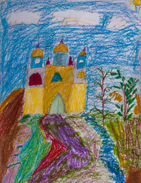 Colorful road to the temple, Glebova Angelina : Children's Art Festival Our Kursk: CHILDREN DRAW THE CHURCH