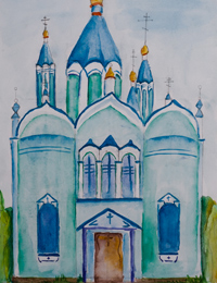 Cathedral of the Nativity of the Blessed Virgin, Root Hermitage, Sviridova Maria : Children's Art Festival Our Kursk: CHILDREN DRAW THE CHURCH