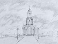 St. George Temple on Victory Avenue, Schepotin Nikita :: Children's Art Festival Our Kursk: CHILDREN DRAW THE CHURCH