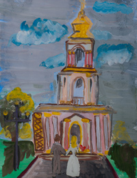 Church of St. George the Victorious, Victory Avenue, Mamzurina Vasilina : Children's Art Festival Our Kursk: CHILDREN DRAW THE CHURCH