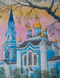Introduction of the Blessed Virgin Mary Church in the Temple, the village Belitsa, Neryabova Anastasia : Children's Art Festival Our Kursk: CHILDREN DRAW THE CHURCH