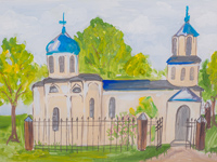 Church of the Holy Gods parents, Joachim and Anna, Tulupova Maria : Children's Art Festival Our Kursk: CHILDREN DRAW THE CHURCH