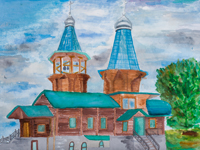 Intercession wooden church in the village Besedin, Leonov Peter : Children's Art Festival Our Kursk: CHILDREN DRAW THE CHURCH