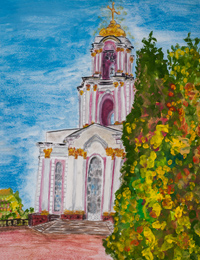 Temple of St. George the Victorious, Sergeeva Olga : Children's Art Festival Our Kursk: CHILDREN DRAW THE CHURCH