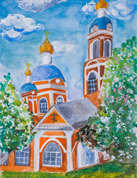 My church, Church of the Ascension., Pankov Nikolay : Children's Art Festival Our Kursk: CHILDREN DRAW THE CHURCH