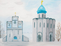 Protection of the Holy Virgin, the village Marmyzhi, Chuikov Xenia :: Children's Art Festival Our Kursk: CHILDREN DRAW THE CHURCH