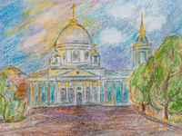 Cathedral of the Sign, Krylov Christina : Children's Art Festival Our Kursk: CHILDREN DRAW THE CHURCH