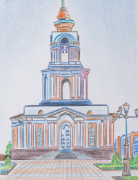 Temple of St. George the Victorious, Kartashov Ruslan : Children's Art Festival Our Kursk: CHILDREN DRAW THE CHURCH