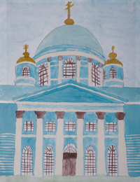 Cathedral of the Sign, Kursk, Alymova Natalia : Children's Art Festival Our Kursk: CHILDREN DRAW THE CHURCH