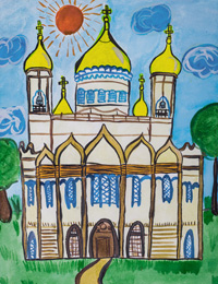 A great day in home church, Petropolskaya Anastasia : Children's Art Festival Our Kursk: CHILDREN DRAW THE CHURCH